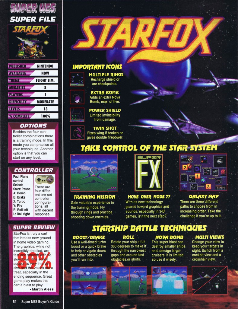 Super NES Buyer's Guide Volume 3, Issue 3 Starfox (SNES)