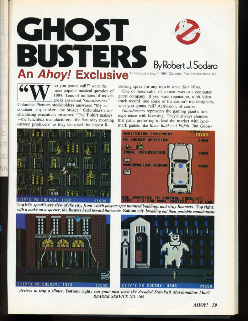 Ahoy! Issue Number 13 January 1985 page 59 Ghostbusters by Robert J. Sodaro