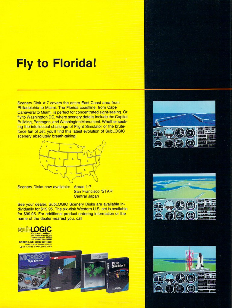 Commodore Magazine Volume 8, Number 6 June 1987 subLogic Flight Simulator II / Jet, Scenery Disk #7