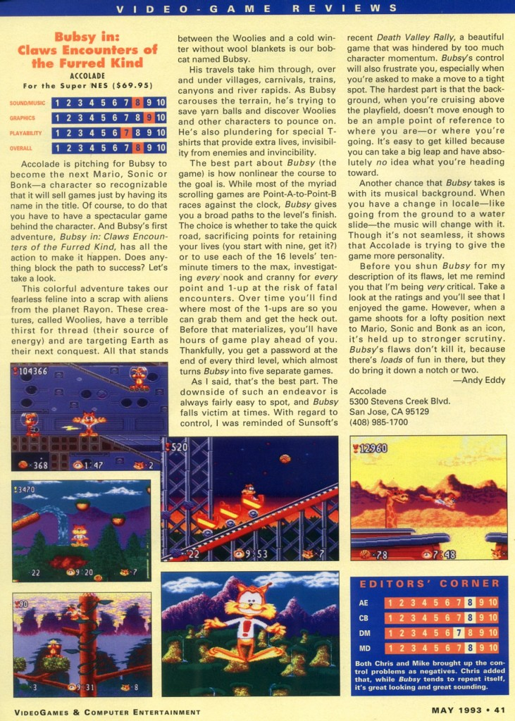 VideoGames & Computer Entertainment May 1993 Page 041 (Video Game Reviews) Accolade Bubsy in: Claws Encounters of the Furred Kind (Super NES)